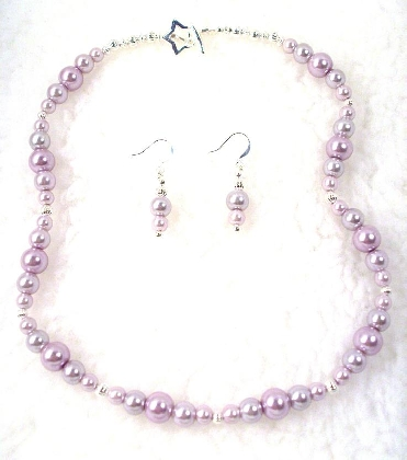 Lilac Pearl Necklace and  Earrings By TamsJewelry