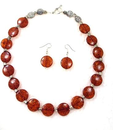 Dark Amber Disc Necklace By TamsJewelry