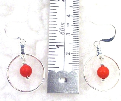 Red Turquoise Hoop Earrings By TamsJewelry