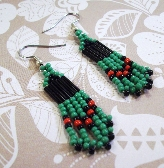 Green Red and Black Glass Seed Bead Earrings By TamsJewelry