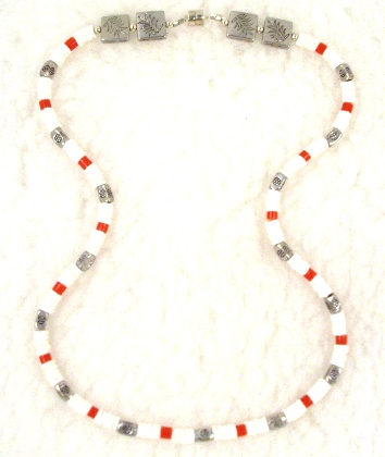 White Bone Heishi  Red Heishi Necklace By TamsJewelry