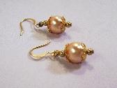Pink Pearl Earrings  Golden Flower Bead Caps