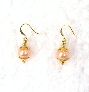 Pink Pearl Earrings  Golden Flower Bead Caps