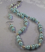 Baby Blue Pearl and Silver Necklace Set By TamsJewelry