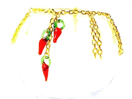 Gold Chain Fringe Anklet with Glass Red Peppers