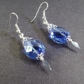 Big  Blue Crystal Silver Speared Earrings