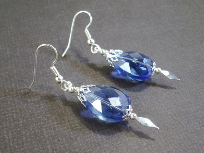Big  Blue Crystal Silver Speared Earrings