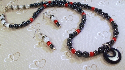 Handmade Black Hemalyke with Red Gemstones and Pendant Necklace and Earrings By TamsJewelry