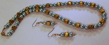 Gold and Teal Pearl Necklace and Earrings By TamsJewelry