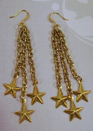 Long Gold Chain Shooting Star Holiday Earrings By TamsJewelry