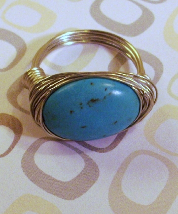 Silver Wire wrapped Blue Turquoise Ring  By TamsJewelry