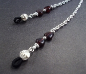 Garnet Gemstone Hearts and Silver Chain Eyeglass Lanyard By TamsJewelry