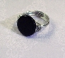 Handmade Black Onyx and Silver Wire Wrapped Ring Size 7