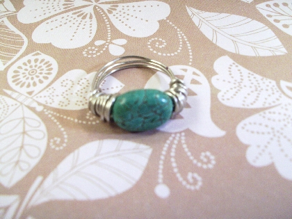 Tourquoise and Silver Wire Wrapped Ring