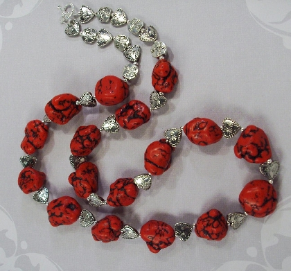 Big Dark Red chunky Turquoise nuggets  and silver heart  Valentine Necklace  by TamsJewelry