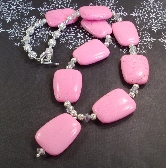 Large Pink Gemstoneand silver and Crystal Necklace By TamsJewelry