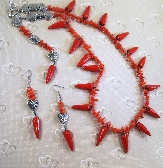 Porcelain Peppers and Red coral Necklace and Earrings Love Valentine Set