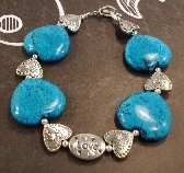 One of a kind Large Blue Turquoise Hearts and Silver Heart Love Valentines bracelet
