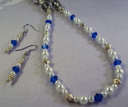 White Pearl Necklace with Blue Swarvoski Crystals and Earrings by TamsJewelry