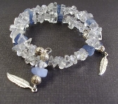 Quartz and Blue Chips Bracelet  withFeather drops By TamsJewelry