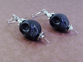 Large Silver Speared Black Skull Earrings By TamsJewelry