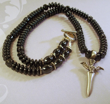 Gunmetal Black and silver Necklace Skull Dagger Pendant