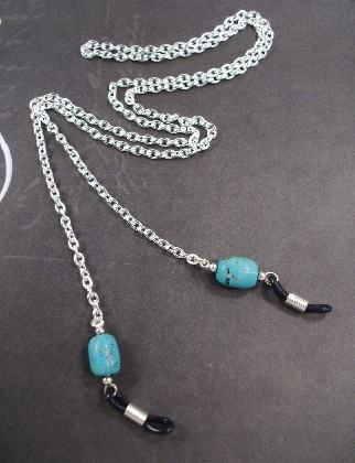 Turquoise Cylinder Silver Chain Eyeglass Lanyard By TamsJewelry