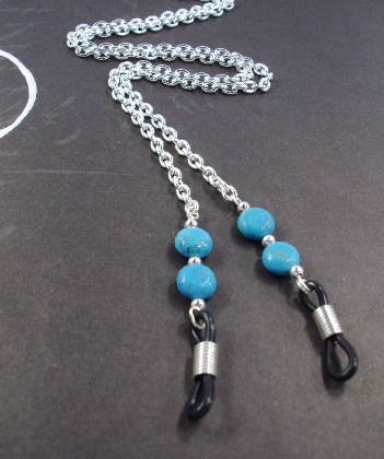 Blue Turquoise Discs and Silver Chain Eye Lanyard by TamsJewelry