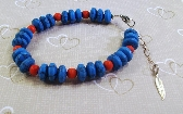 Blue and Red Turquoise and Silver Chain Gemstone Anklet  by TamsJewelry