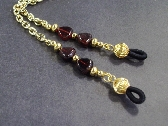 Garnet Gemstone Hearts and Gold Chain Eye Lanyard Birthstone by TamsJewelry