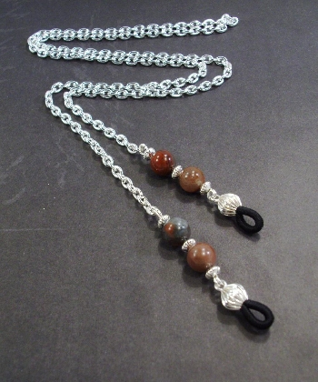 Bloodstone Gemstone and Silver Chain Eye Lanyard Birthstone by TamsJewelry