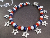 Red white and  blue crystals and Silver Shooting Stars Anklet July 4th  by TamsJewelry
