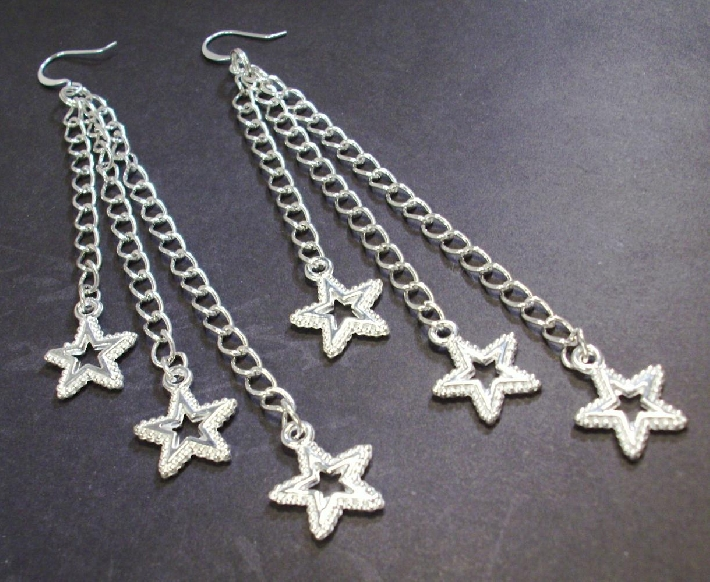 long silver chain Shooting Stars dangling Earrings July 4th by TamsJewelry