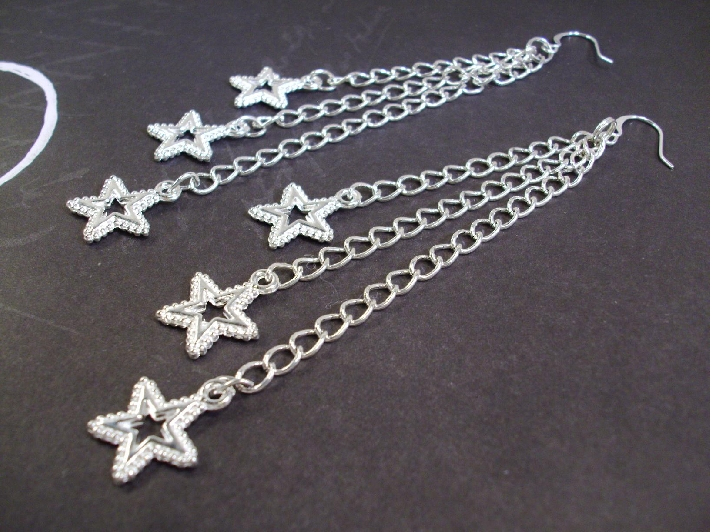long silver chain Shooting Stars dangling Earrings July 4th by TamsJewelry