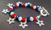 Red white and blue crystals and Silver Shooting Stars Bracelet July 4th  by Tams Jewelry