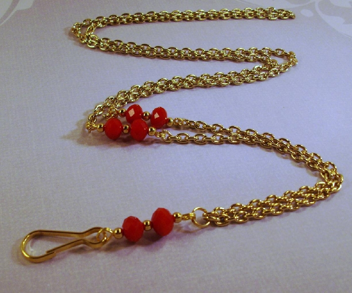 Red crystals and Gold chain Identification lanyard necklace by TamsJewelry