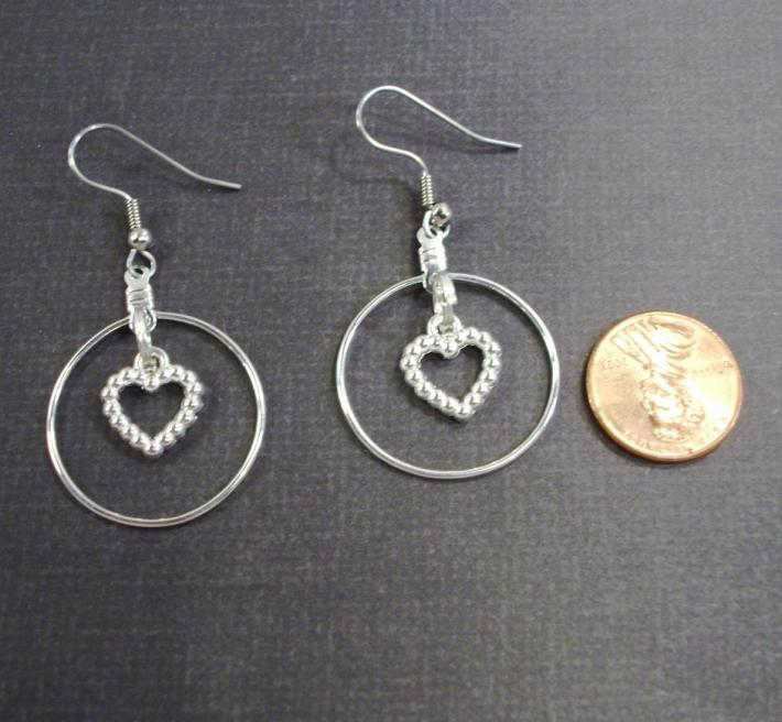 Silver Hoop with Hearts Earrings  by TamsJewelry
