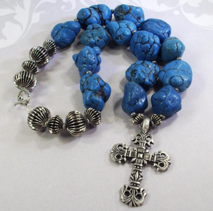 Extra large blue green Turquoise nugget necklace with cross and corrugated beads