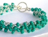 Turquoise Wire Crochet Bracelet Priced 30 precent OFF Sale