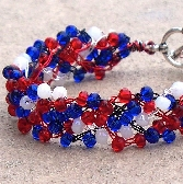 Wire Crochet Cuff Bracelet Forth of July FREE USA SHIPPING