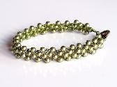 Lt Green Crochet  Swarovski Pearl Bracelet