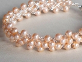 Peach Pearl Wire Crochet Bracelet FREE USPS First Class Shipping