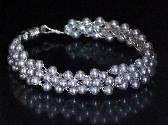 Lavender Swarovski Pearls Crochet Bracelet