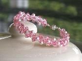 Swarovski Pearl and Crystal Mix Wire Crochet Bracelet Pinky