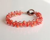 Coral Pearls and Crystal Bracelet