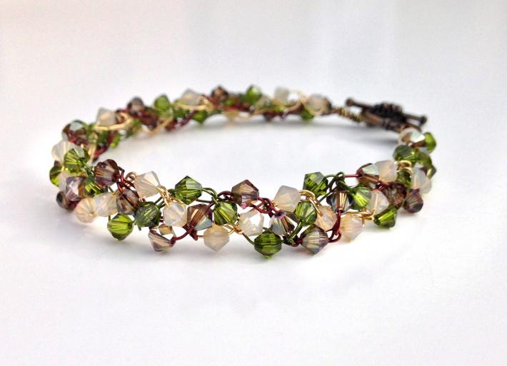 Woodland Wire Crochet Crystal Bracelet