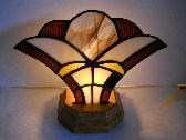 Brown Stained Glass Fan Lamp