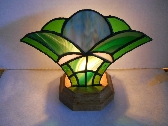 Green Stained Glass Fan Lamp
