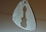 Sterling silver guitar pick pendant with guitar cut out