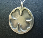 Sterling silver clover leaf pendant for Saint Patricks Day